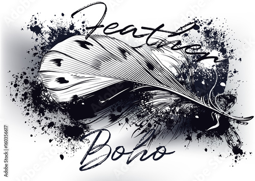 Beautiful feather on a grunge background. Boho design