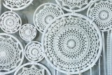 Beautiful delicate white lace woven in circles - 160373467