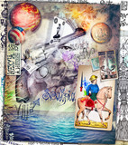 Murales-street art with firearms, pistolers, scenes of war and battles series - 160384665