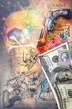 Murales-street art with firearms, pistolers, scenes of war and battles series - 160385049