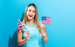 Quadro Woman with flags of English speaking countries