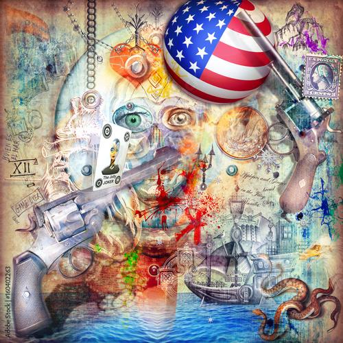 Murales-street art with firearms, pistolers, scenes of war and battles series