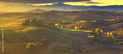 autumn panorama of the most beautiful area in Tuscany, Val d'Orcia Valley