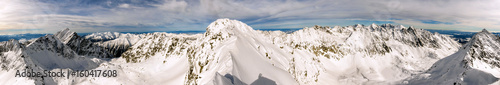 Winter in the mountains - Wide panorama. - 160417608