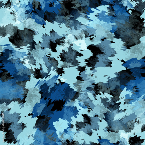 Materiał do szycia Seamless pattern tie-dye design. Indigo background with watercolor effect. Textile shibori print for bed linen, jacket, package design, fabric and fashion concepts.
