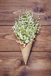 Постер, плакат: Waffle cone with lilies of the valley