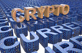 Crypto currency text with circuit board texture concept 3d illustration
