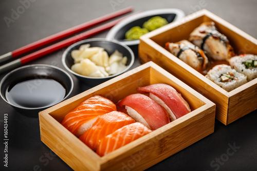 Fototapeta Sushi set, sushi rolls