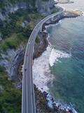 Looking down aerial view of Sea Cliff Bridge, Australia
