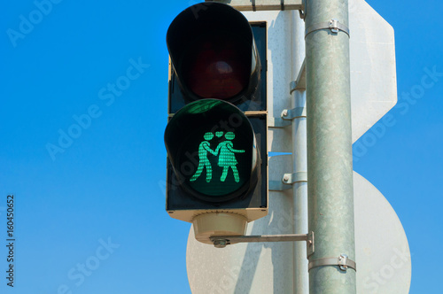 Green traffic light closeup in Vienna, Austria
