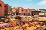 colorful leather drying out in a tannery at marrakech, Morocco - 160454096