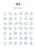 Vector graphic set.Isolated Icons in flat, contour, thin, minimal and linear desine.Sea and ocean.Flora and fauna of underwater world. Cruise.Concept illustration for Web site.Sign,symbol, element.