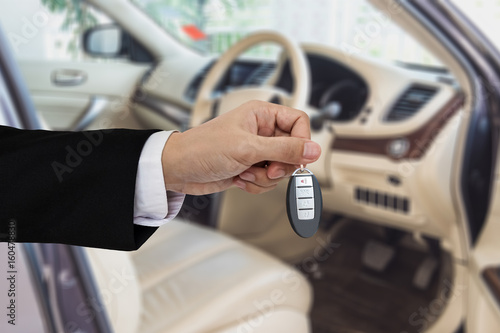 Hand Holding Car Key Remote With Modern Car Backgrounds Buy