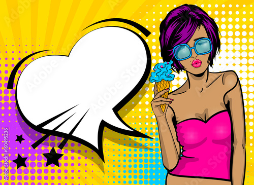 Cartoon vintage poster, colored white kitch cool girl heart sunglasses. Speech bubble comic text vector font illustration. Summer sale banner. Kiss sexy lips lipstick. Pop art style WOW face icecream