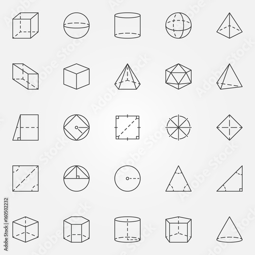 Geometry and trigonometry icons set