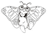 Butterfly, monarch, wings, flying, insect, nature, cartoon, black, white, happy, face, hands, glasses, coloring