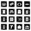 Supermarket set icons, grunge style