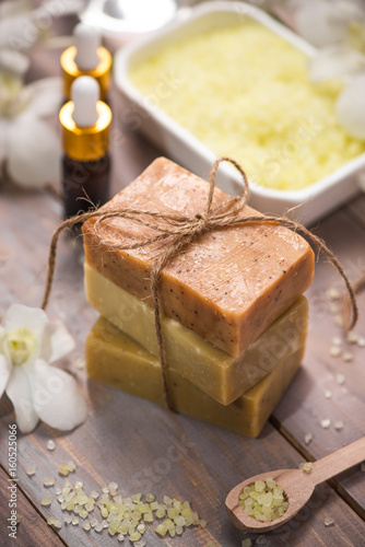 Handmade Soap and Aroma Oil with Flower branch. Spa products.