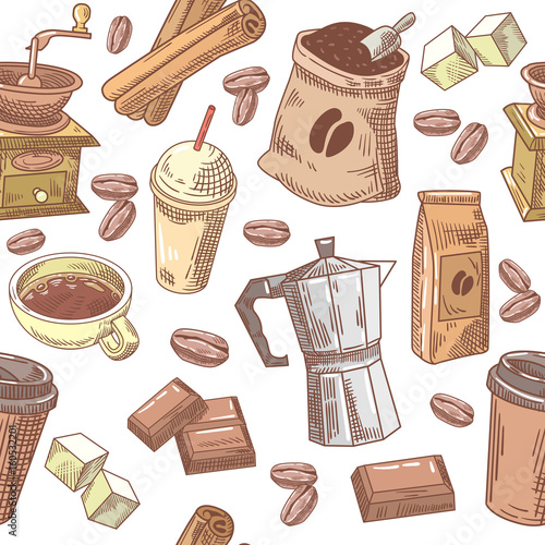 Coffee Hand Drawn Seamless Background with Beans, Sugar and Chocolate. Vector pattern