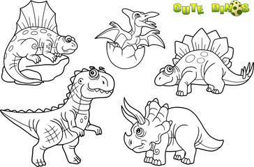 Cartoon funny dinosaurs, set of images
