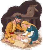Nativity scene with Holy Family. Jesus, Mary and Joseph
