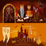 Medieval dungeon, ancient treasure chest, abandoned building interior, castle door. Medieval banners, old king, joust, knight, medieval castle - 160562246
