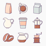 Collection of coffee icons - 160562608