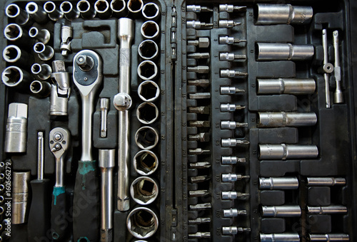 Kit of details and hand-tools for car troubleshooting