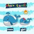 whale family in the sea. cute vector cartoon illustration - 160577423