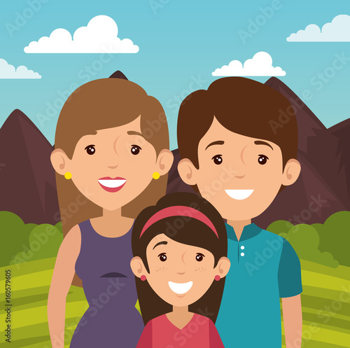 Smiling family with balloons and outdoors landscape behind vector illustration