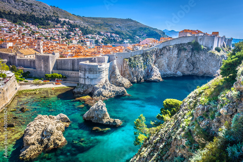 Dubrovnik landscape. / Aerial view at famous european travel destination in Croatia, Dubrovnik old town.