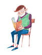 Smart young man reading a book sitting on a chair hand-drawn with aquarelle paints - 160592270