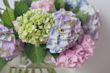 Hydrangea bouquet. Gentle wedding flower decoration