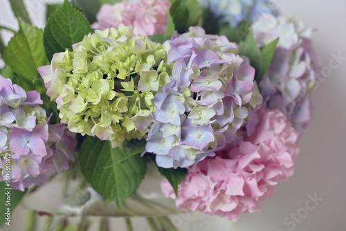 Hydrangea bouquet. Gentle wedding flower decoration