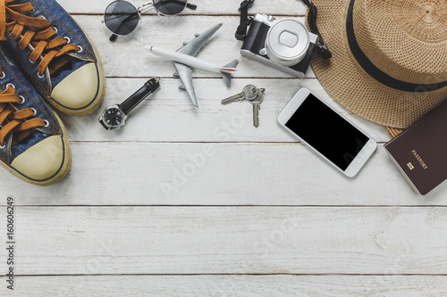 Top view women accessories to travel concept Poster