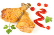 Grilled chicken leg with ketchup isolated on white background - 160619099
