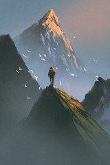 man standing on top of mountain looking at other mountains with digital art style, illustration painting © grandfailure