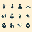 Holiday Icons Set. Collection Of Helping, Stroller, Mom And Other Elements. Also Includes Symbols Such As Helping, Child, Queen.