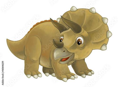 cartoon happy and funny dinosaur dinosaur - triceratops - 160646219