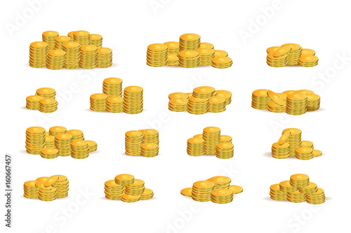 Vector set of isolated realistic piles of golden coins on the white background. Concept of money, gold market and treasure.