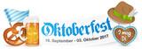 Oktoberfest 2017 Banner mit Bierglas, Brezel und Lebkuchenherz - 160671246