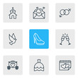 Vector Illustration Of 9 Engagement Icons. Editable Pack Of Building, Card, Chariot And Other Elements.