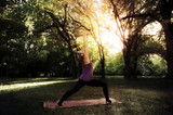 Abstract yoga image, woman in park doing warrior pose in sunset, colorful, beautiful sun rays