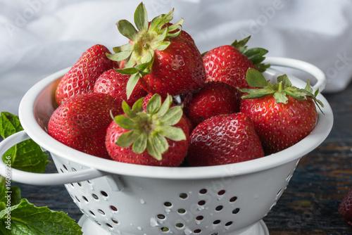 Freshly washed strawberries