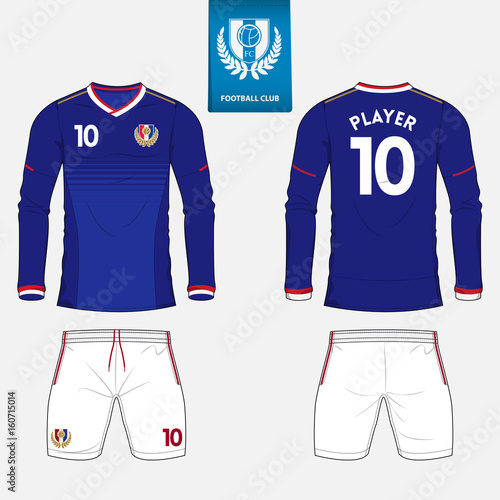Set of long sleeve soccer jersey or football kit template for football club.  Football shirt 7cf813d34