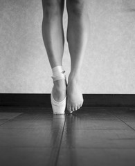 Black and White version of a ballerina's feet- behind the scenes