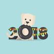 Cute Dog Celebrating 2018 Vector Illustration