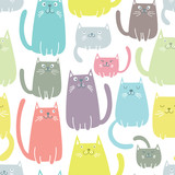 Cats seamless vector pattern - 160720803