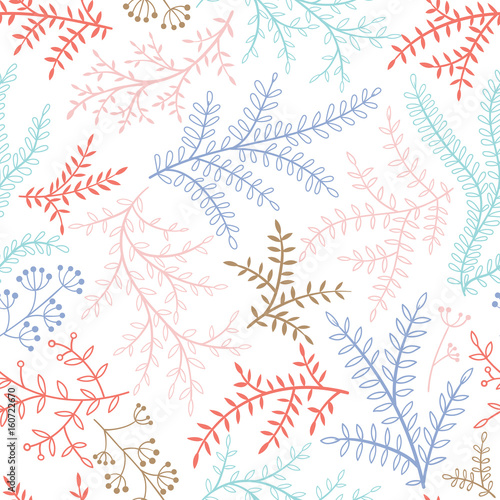 Soft vector seamless pattern with branches - 160722670