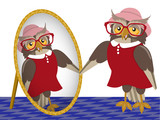 Owl in front of mirror